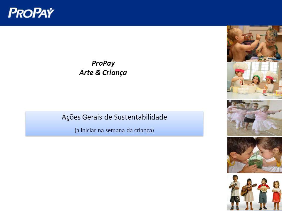 ProPay Arte & Criança Ações Gerais de Sustentabilidade (a iniciar na semana da criança) Ações Gerais de Sustentabilidade (a iniciar na semana da crian