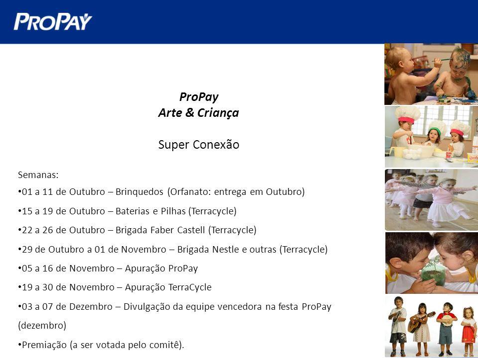 ProPay Arte & Criança Super Conexão Semanas: 01 a 11 de Outubro – Brinquedos (Orfanato: entrega em Outubro) 15 a 19 de Outubro – Baterias e Pilhas (Te