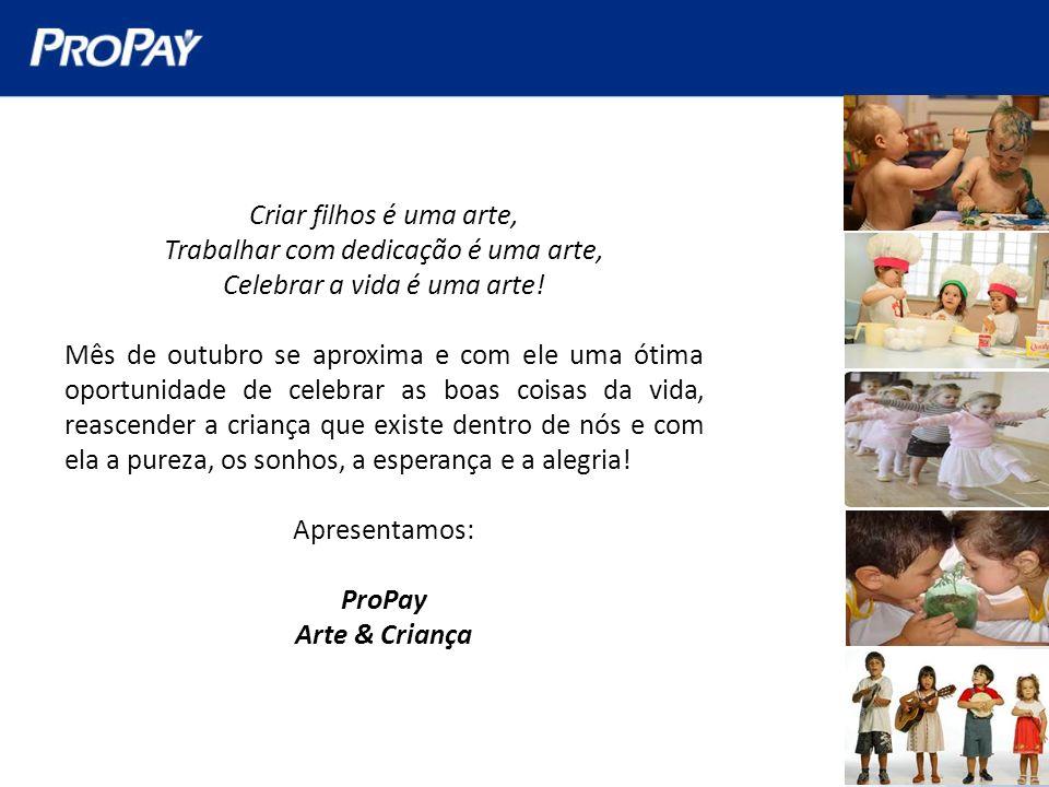 ProPay Arte & Criança Nossa proposta é reunir no dia 11 de outubro os filhos de nossos profissionais internos para um dia de arte, cultura, lazer, conscientização e convivência.