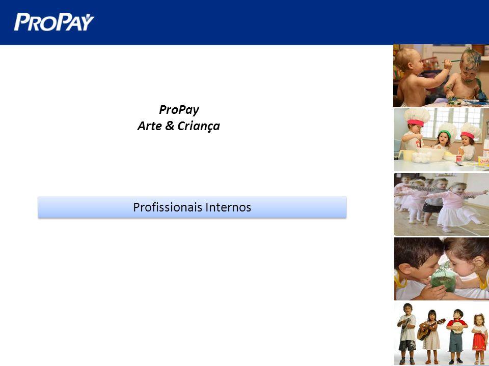 ProPay Arte & Criança Profissionais Externos 13 filhos entre 0 e 5 anos (9 meninas e 4 meninos) 11 filhos entre 6 e 10 anos (3 meninas e 8 meninos) 4 filhos entre 11 e 15 anos (3 meninas e 1 meninos)