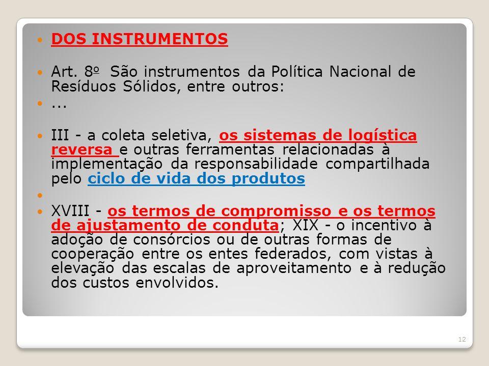 DOS INSTRUMENTOS Art. 8 o São instrumentos da Política Nacional de Resíduos Sólidos, entre outros:... III - a coleta seletiva, os sistemas de logístic