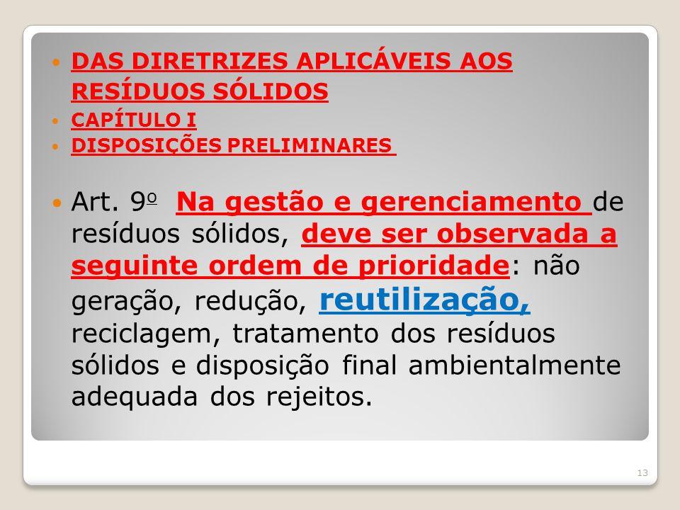 DAS DIRETRIZES APLICÁVEIS AOS RESÍDUOS SÓLIDOS CAPÍTULO I DISPOSIÇÕES PRELIMINARES Art. 9 o Na gestão e gerenciamento de resíduos sólidos, deve ser ob