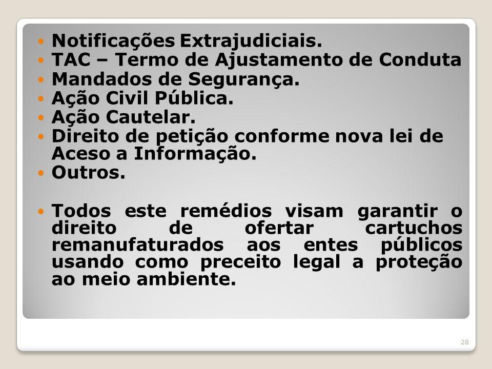 Notificações Extrajudiciais. TAC – Termo de Ajustamento de Conduta Mandados de Segurança. Ação Civil Pública. Ação Cautelar. Direito de petição confor