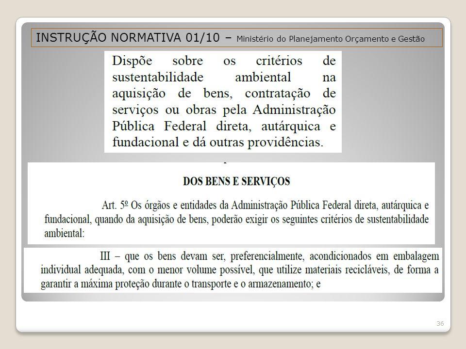 36 INSTRUÇÃO NORMATIVA 01/10 – Ministério do Planejamento Orçamento e Gestão