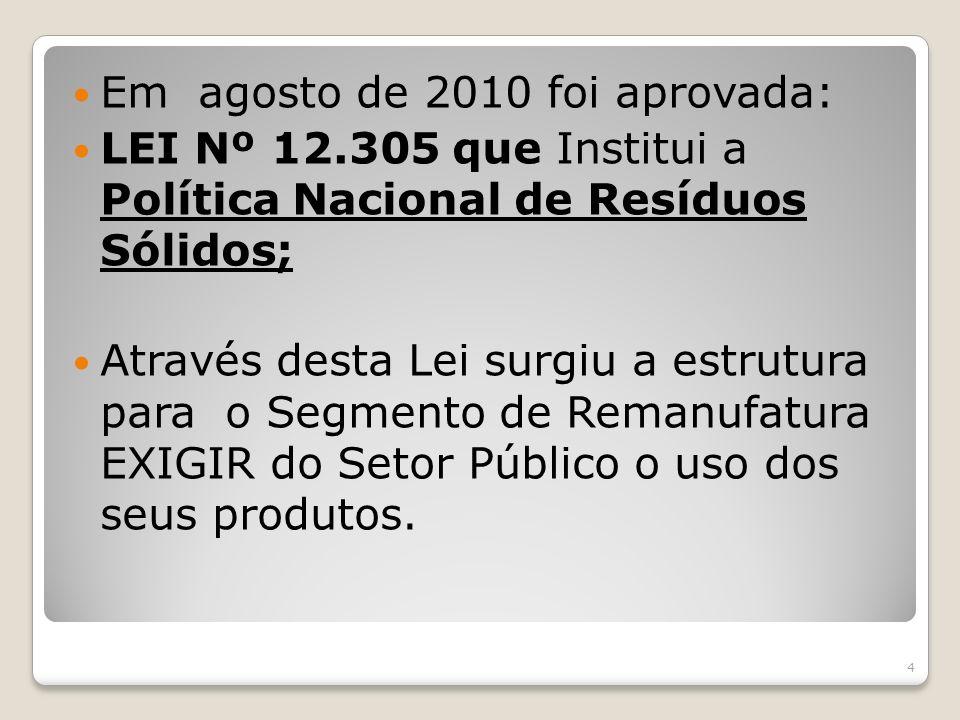Em agosto de 2010 foi aprovada: LEI Nº 12.305 que Institui a Política Nacional de Resíduos Sólidos; Através desta Lei surgiu a estrutura para o Segmen