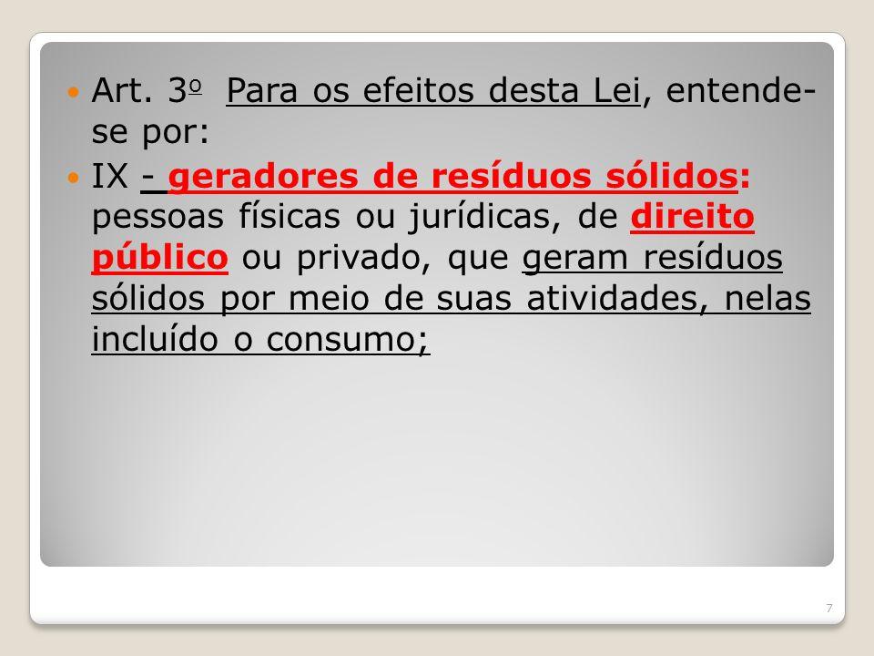 Art. 3 o Para os efeitos desta Lei, entende- se por: IX - geradores de resíduos sólidos: pessoas físicas ou jurídicas, de direito público ou privado,