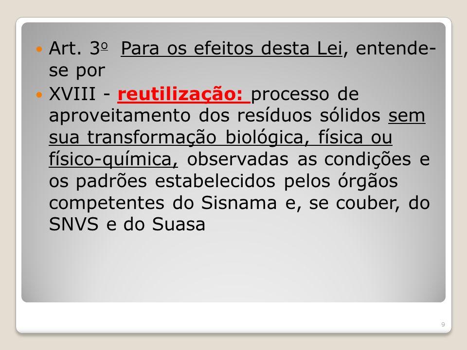 Art. 3 o Para os efeitos desta Lei, entende- se por XVIII - reutilização: processo de aproveitamento dos resíduos sólidos sem sua transformação biológ