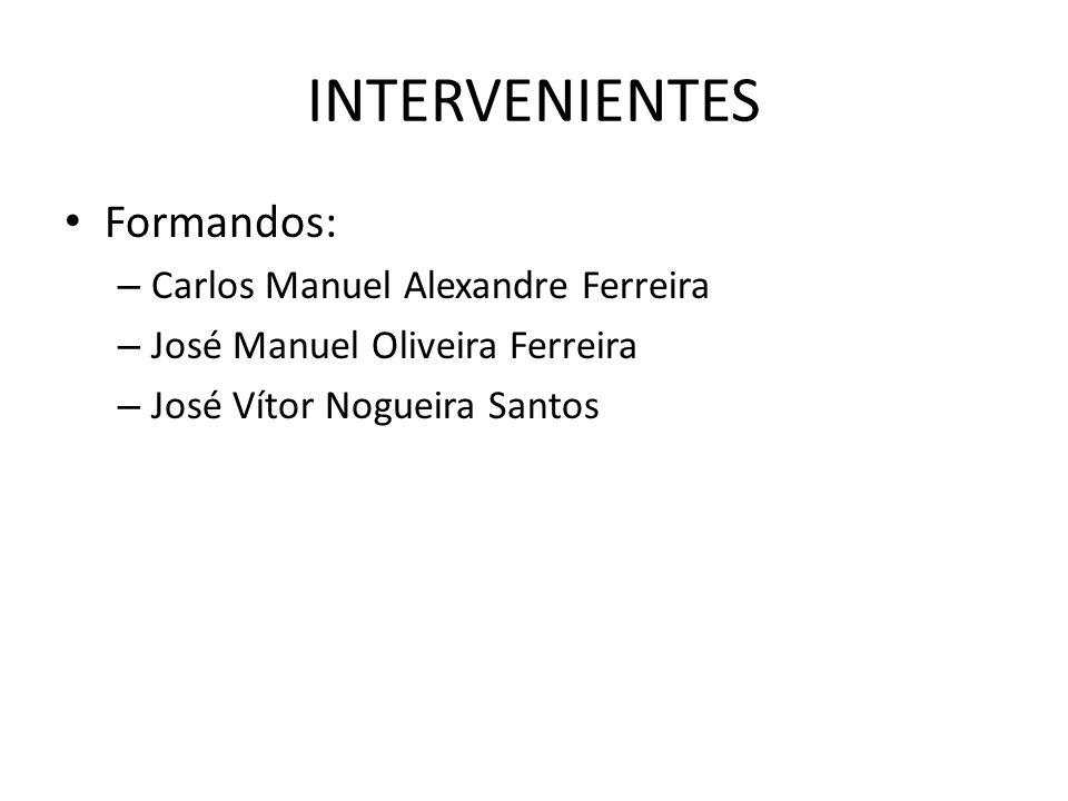 INTERVENIENTES Formandos: – Carlos Manuel Alexandre Ferreira – José Manuel Oliveira Ferreira – José Vítor Nogueira Santos