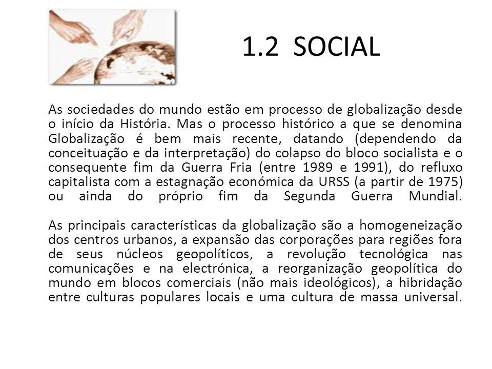 1.2 SOCIAL As sociedades do mundo estão em processo de globalização desde o início da História. Mas o processo histórico a que se denomina Globalizaçã