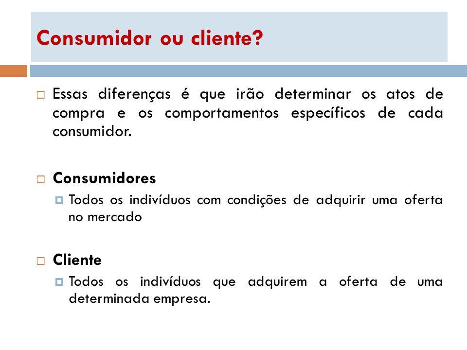 Consumidor ou cliente? Essas diferenças é que irão determinar os atos de compra e os comportamentos específicos de cada consumidor. Consumidores Todos