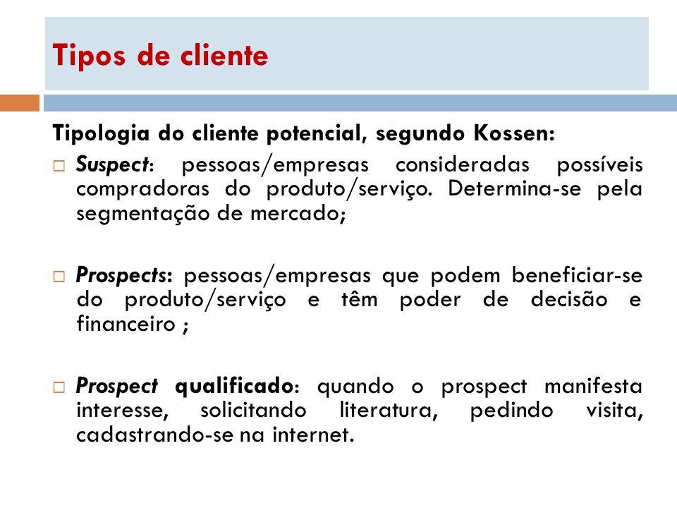 Tipos de cliente Tipologia do cliente potencial, segundo Kossen: Suspect: pessoas/empresas consideradas possíveis compradoras do produto/serviço. Dete