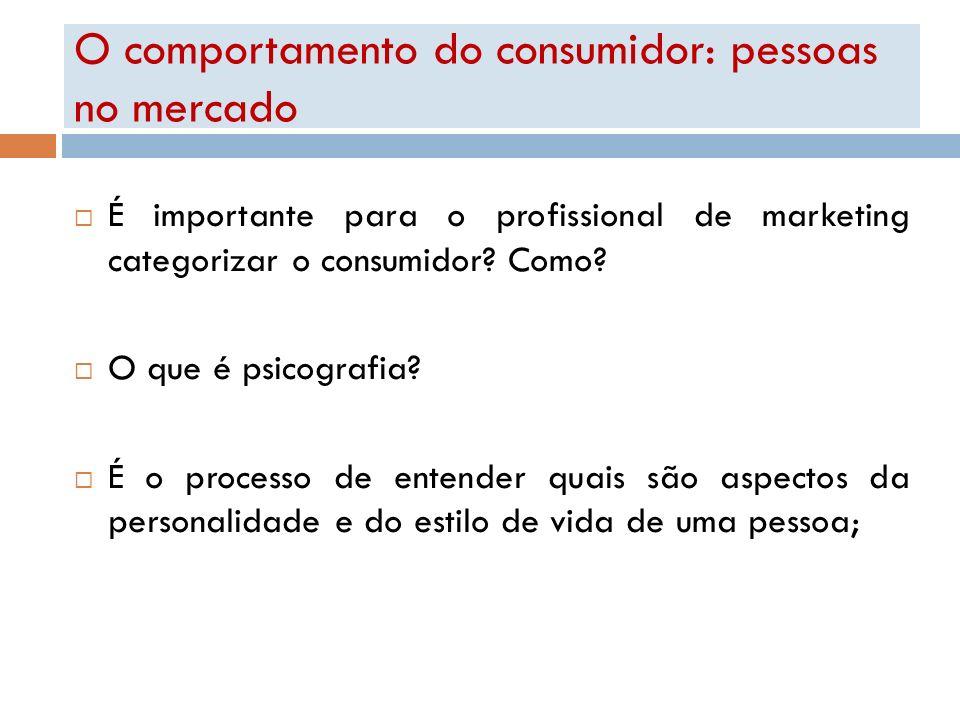 O comportamento do consumidor: pessoas no mercado É importante para o profissional de marketing categorizar o consumidor? Como? O que é psicografia? É