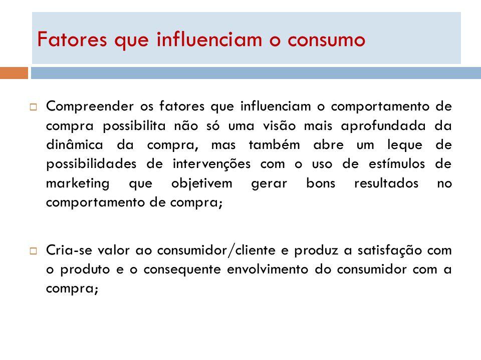 Fatores que influenciam o consumo Compreender os fatores que influenciam o comportamento de compra possibilita não só uma visão mais aprofundada da di