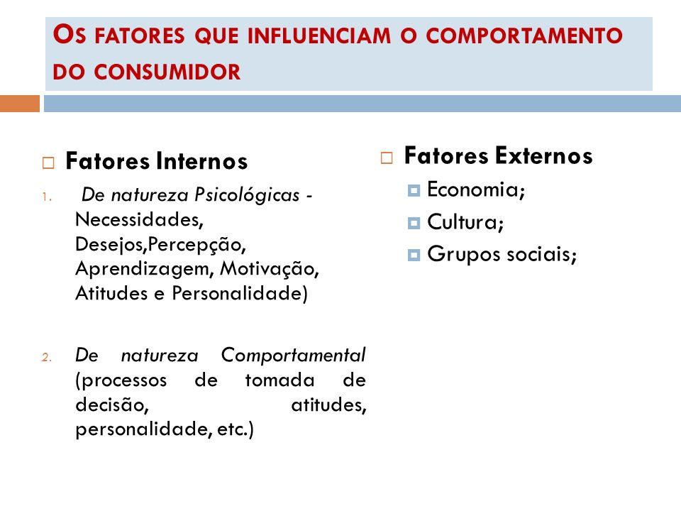 O S FATORES QUE INFLUENCIAM O COMPORTAMENTO DO CONSUMIDOR Fatores Internos 1. De natureza Psicológicas - Necessidades, Desejos,Percepção, Aprendizagem