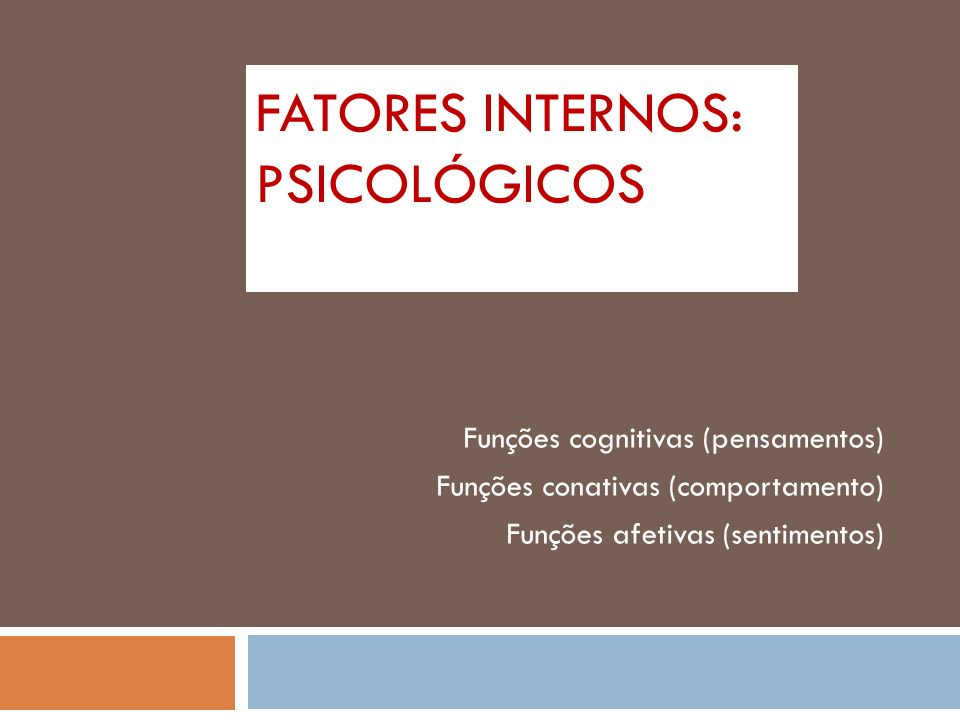 FATORES INTERNOS: PSICOLÓGICOS Funções cognitivas (pensamentos) Funções conativas (comportamento) Funções afetivas (sentimentos)