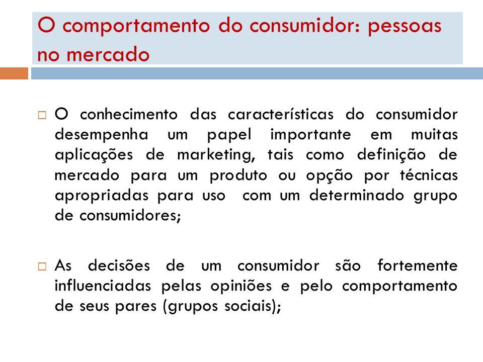 O comportamento do consumidor: pessoas no mercado O conhecimento das características do consumidor desempenha um papel importante em muitas aplicações