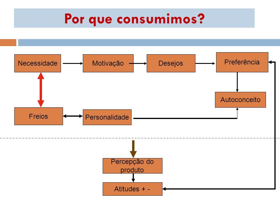 Por que consumimos? MotivaçãoNecessidadeDesejos Preferência Autoconceito Freios Personalidade Percepção do produto Atitudes + -