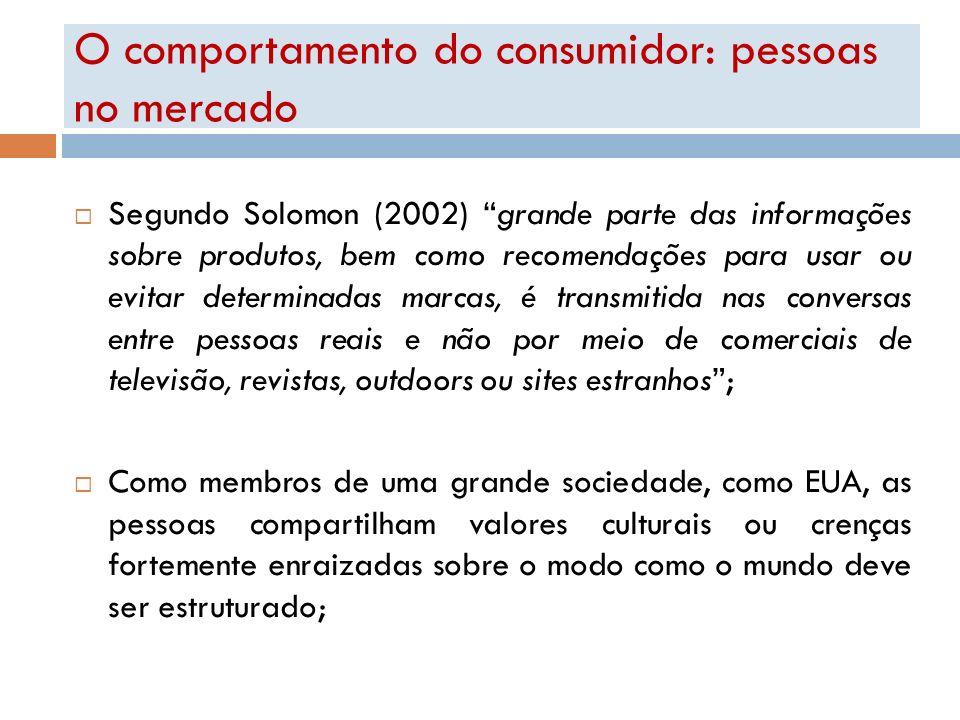 O comportamento do consumidor: pessoas no mercado Segundo Solomon (2002) grande parte das informações sobre produtos, bem como recomendações para usar
