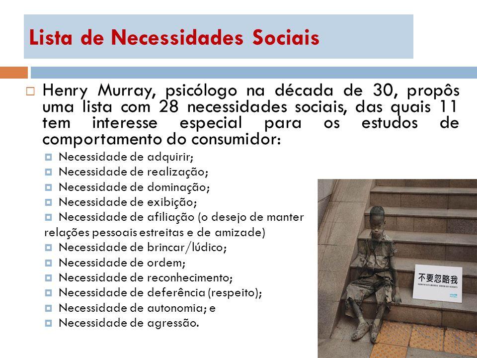 Lista de Necessidades Sociais Henry Murray, psicólogo na década de 30, propôs uma lista com 28 necessidades sociais, das quais 11 tem interesse especi