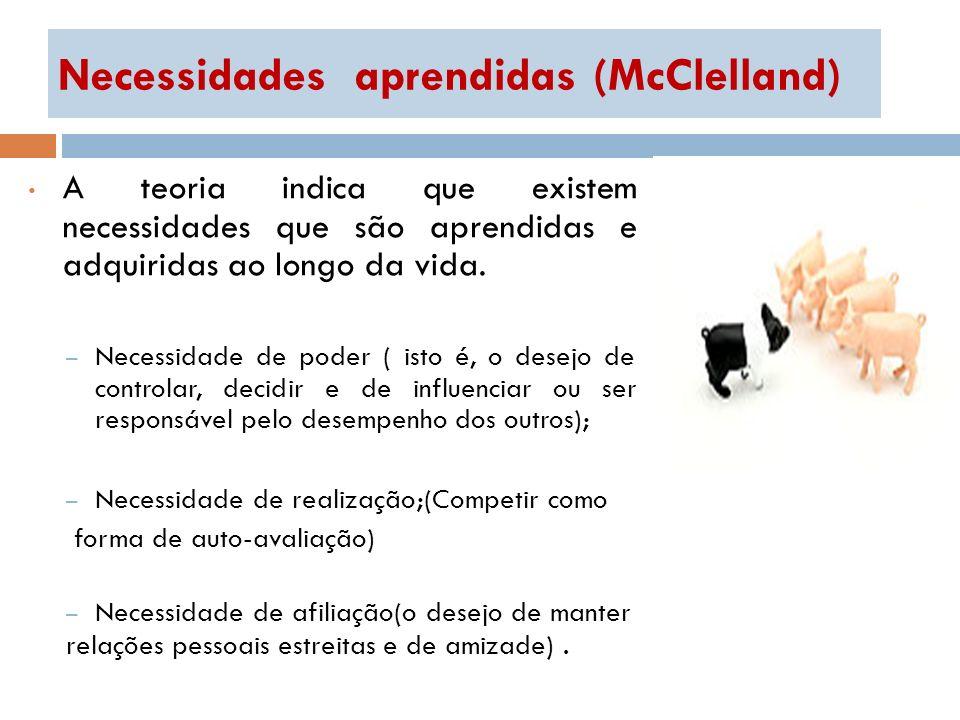 Necessidades aprendidas (McClelland) A teoria indica que existem necessidades que são aprendidas e adquiridas ao longo da vida. – Necessidade de poder