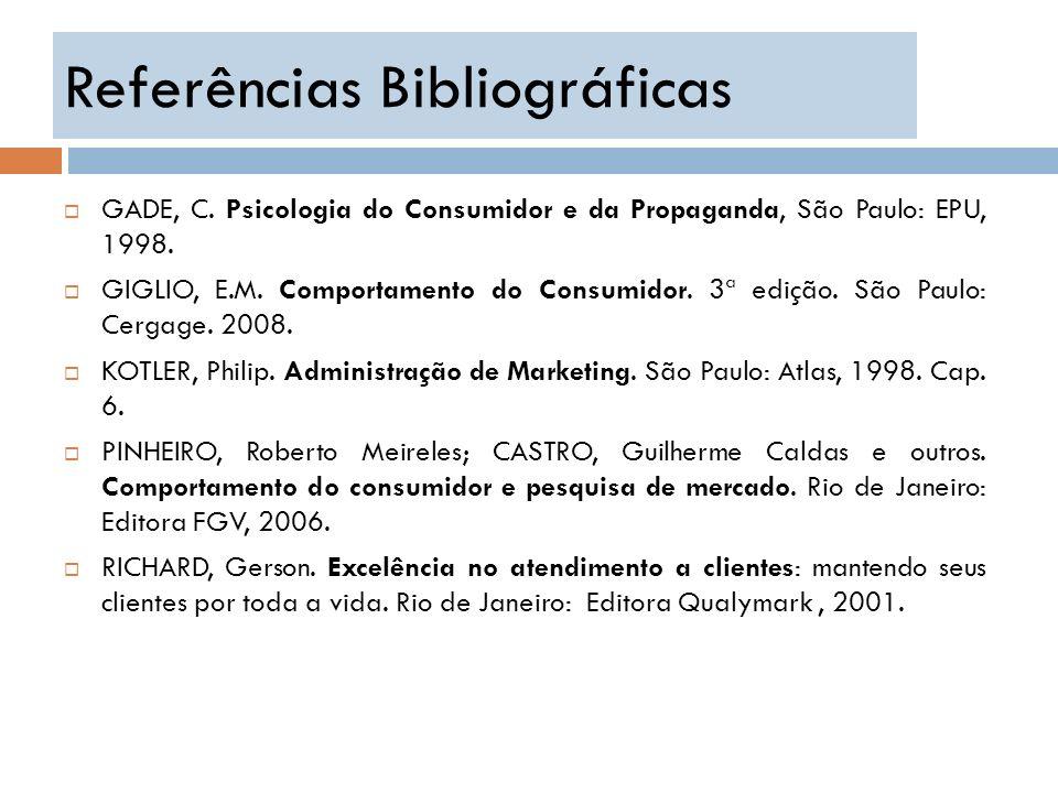 Referências Bibliográficas GADE, C. Psicologia do Consumidor e da Propaganda, São Paulo: EPU, 1998. GIGLIO, E.M. Comportamento do Consumidor. 3ª ediçã