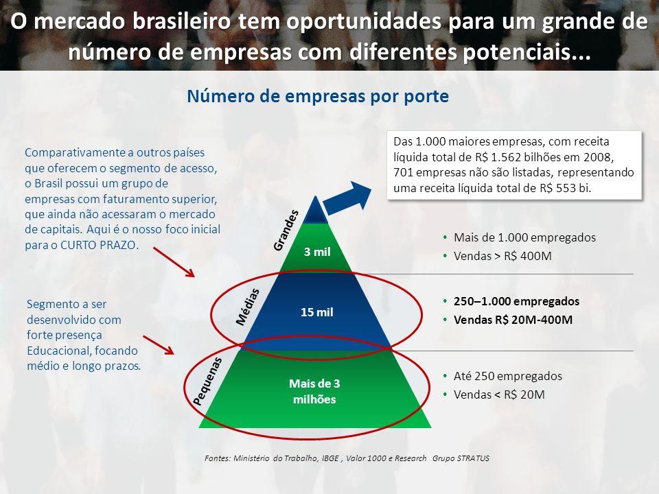 O mercado brasileiro tem oportunidades para um grande de número de empresas com diferentes potenciais... Fontes: Ministério do Trabalho, IBGE, Valor 1