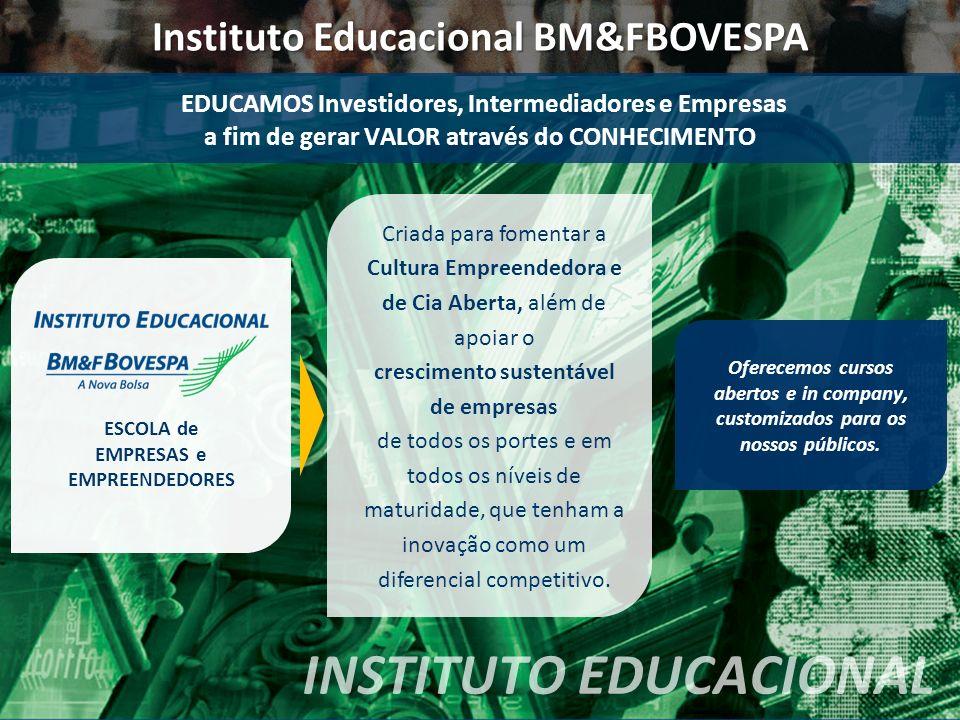 EDUCAMOS Investidores, Intermediadores e Empresas a fim de gerar VALOR através do CONHECIMENTO INSTITUTO EDUCACIONAL Criada para fomentar a Cultura Em