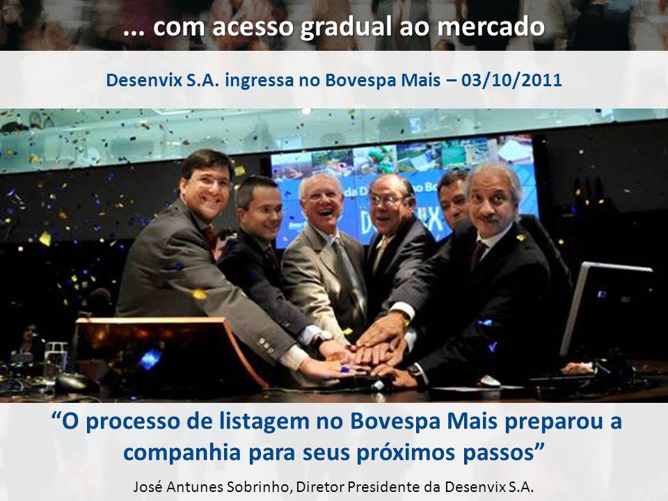 ... com acesso gradual ao mercado Desenvix S.A. ingressa no Bovespa Mais – 03/10/2011 O processo de listagem no Bovespa Mais preparou a companhia para
