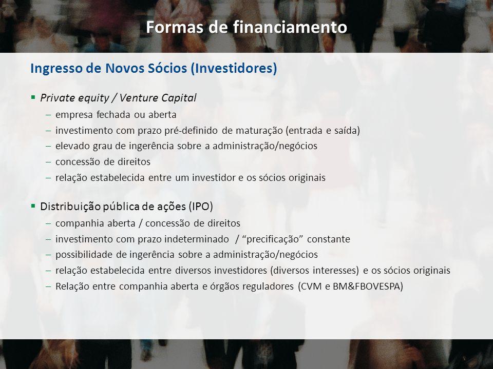 Formas de financiamento Ingresso de Novos Sócios (Investidores) Private equity / Venture Capital –empresa fechada ou aberta –investimento com prazo pr