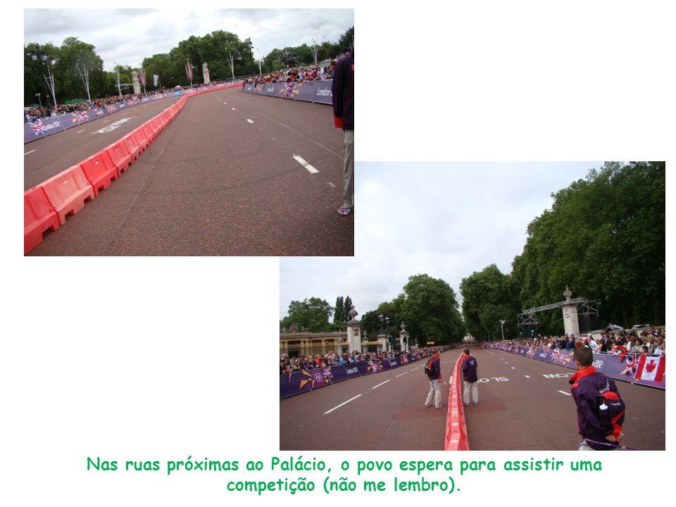 Nas ruas próximas ao Palácio, o povo espera para assistir uma competição (não me lembro).