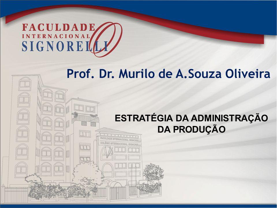 Prof. Dr. Murilo de A.Souza Oliveira ESTRATÉGIA DA ADMINISTRAÇÃO DA PRODUÇÃO
