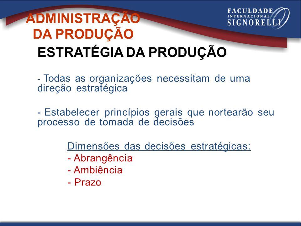 ADMINISTRAÇÃO DA PRODUÇÃO ESTRATÉGIA DA PRODUÇÃO - Todas as organizações necessitam de uma direção estratégica - Estabelecer princípios gerais que nor