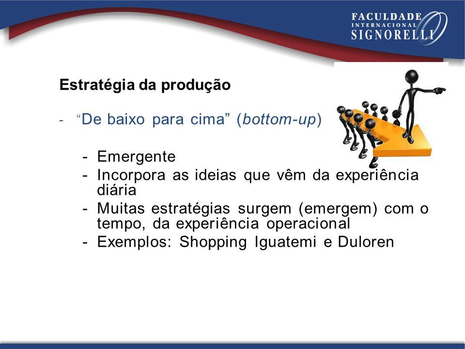 Estratégia da produção - De baixo para cima (bottom-up) -Emergente -Incorpora as ideias que vêm da experiência diária -Muitas estratégias surgem (emer
