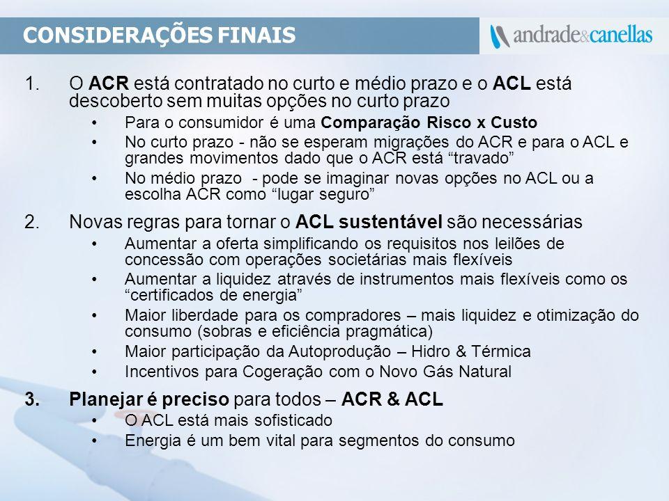 1.O ACR está contratado no curto e médio prazo e o ACL está descoberto sem muitas opções no curto prazo Para o consumidor é uma Comparação Risco x Cus