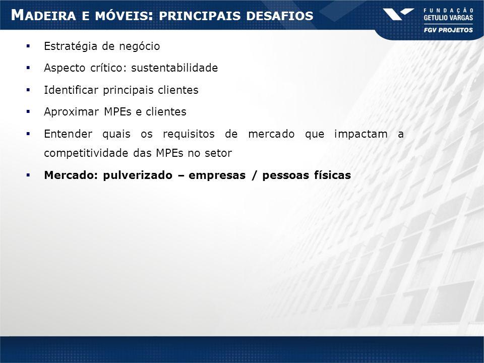 M ADEIRA E MÓVEIS : PRINCIPAIS DESAFIOS Estratégia de negócio Aspecto crítico: sustentabilidade Identificar principais clientes Aproximar MPEs e clien