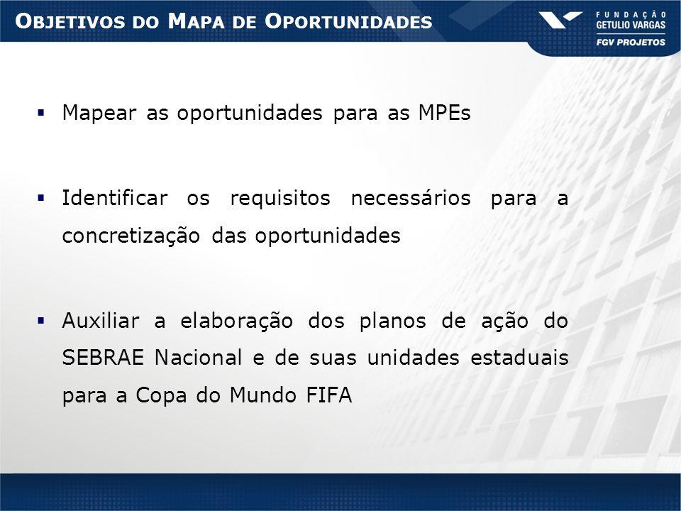 O BJETIVOS DO M APA DE O PORTUNIDADES Mapear as oportunidades para as MPEs Identificar os requisitos necessários para a concretização das oportunidades Auxiliar a elaboração dos planos de ação do SEBRAE Nacional e de suas unidades estaduais para a Copa do Mundo FIFA