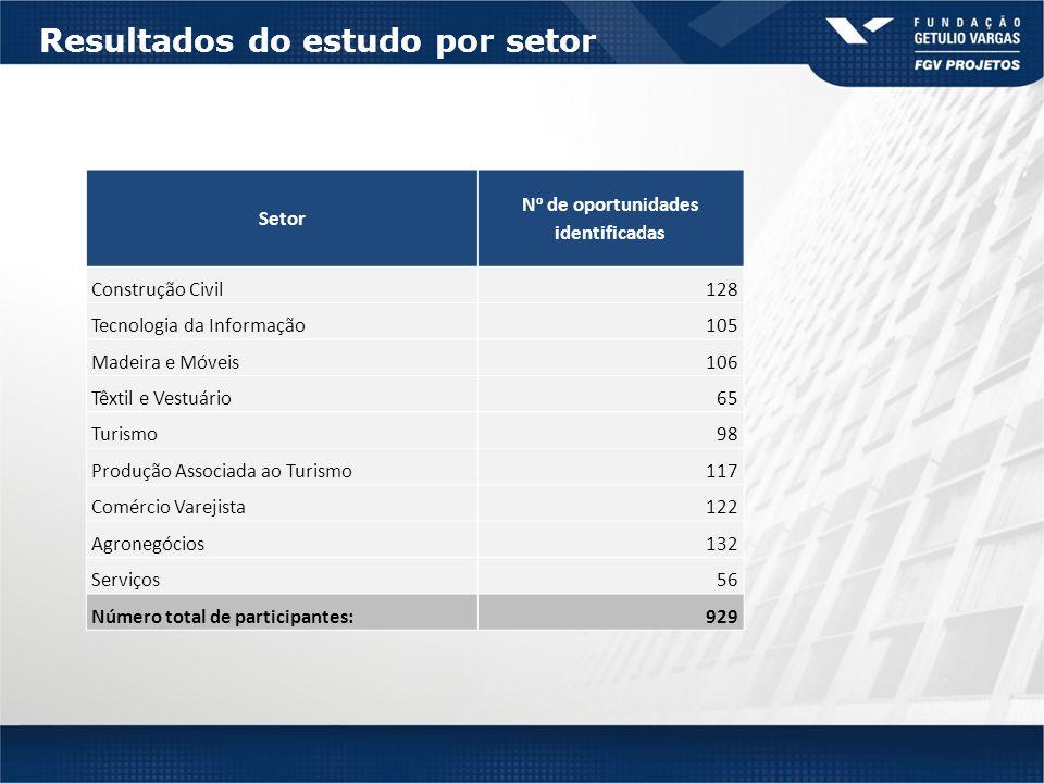 Resultados do estudo por setor Setor N o de oportunidades identificadas Construção Civil128 Tecnologia da Informação105 Madeira e Móveis106 Têxtil e Vestuário65 Turismo98 Produção Associada ao Turismo117 Comércio Varejista122 Agronegócios132 Serviços56 Número total de participantes:929