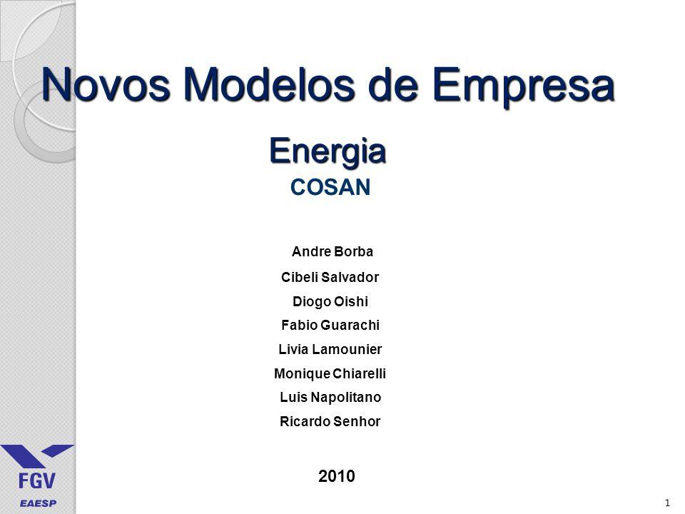1 Novos Modelos de Empresa Energia COSAN Andre Borba Cibeli Salvador Diogo Oishi Fabio Guarachi Livia Lamounier Monique Chiarelli Luis Napolitano Ricardo Senhor 2010