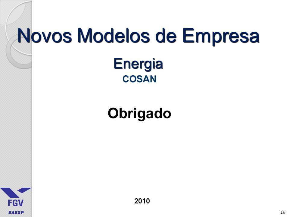 16 Novos Modelos de Empresa Energia COSAN Obrigado 2010