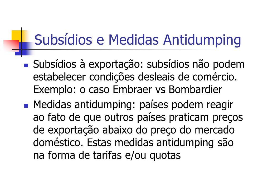 Subsídios e Medidas Antidumping Subsídios à exportação: subsídios não podem estabelecer condições desleais de comércio. Exemplo: o caso Embraer vs Bom