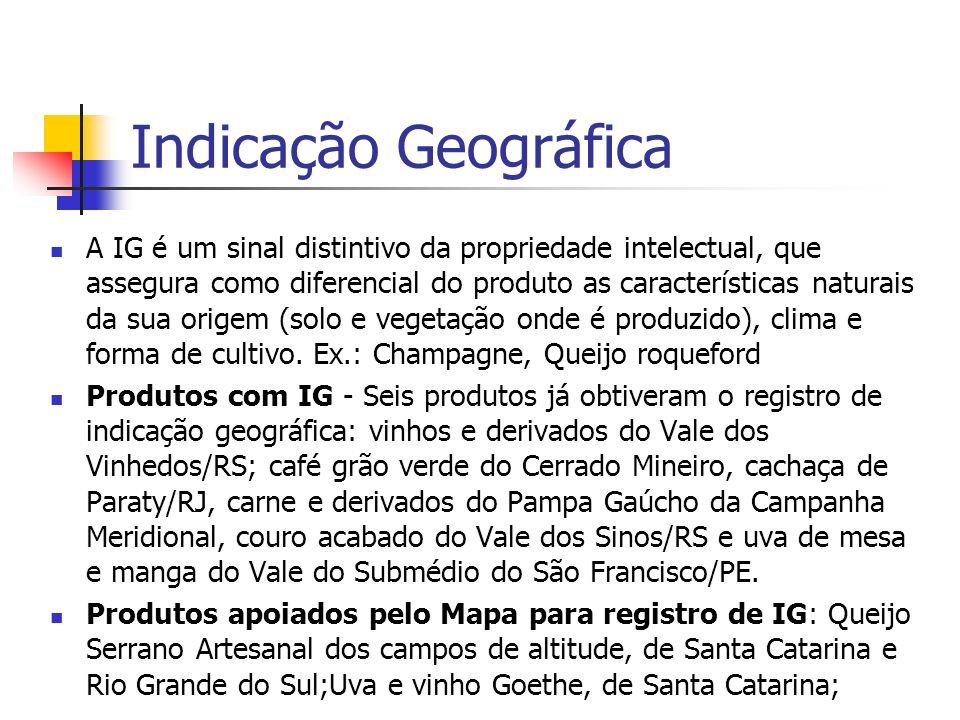 Indicação Geográfica A IG é um sinal distintivo da propriedade intelectual, que assegura como diferencial do produto as características naturais da su