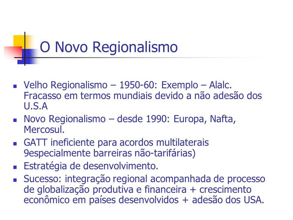 O Novo Regionalismo Velho Regionalismo – 1950-60: Exemplo – Alalc. Fracasso em termos mundiais devido a não adesão dos U.S.A Novo Regionalismo – desde