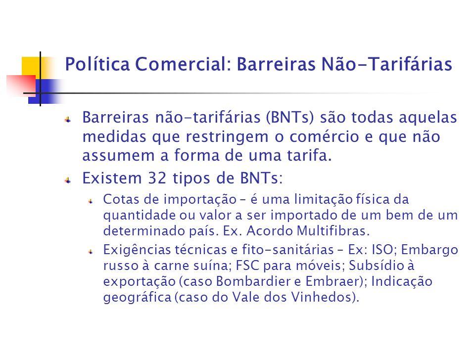 Política Comercial: Barreiras Não-Tarifárias Barreiras não-tarifárias (BNTs) são todas aquelas medidas que restringem o comércio e que não assumem a f