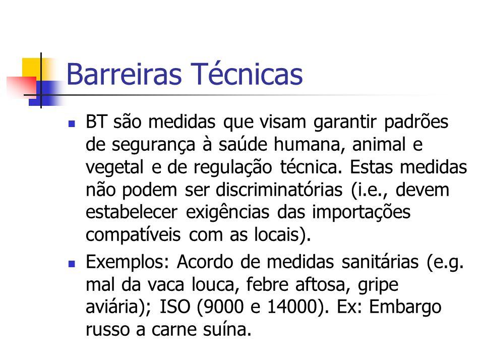 Barreiras Técnicas BT são medidas que visam garantir padrões de segurança à saúde humana, animal e vegetal e de regulação técnica. Estas medidas não p