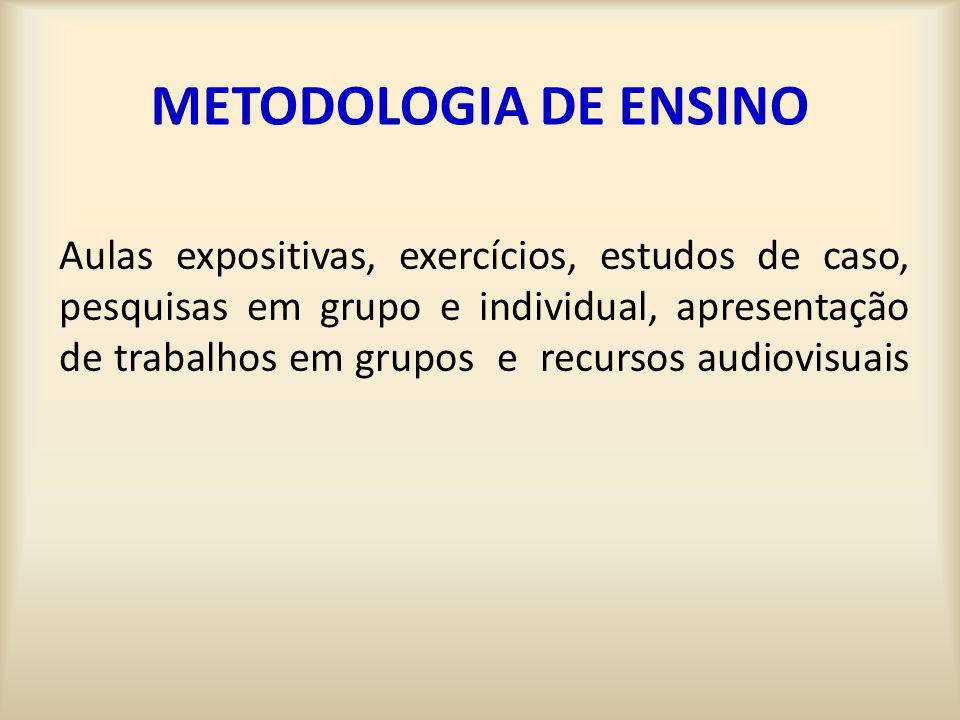METODOLOGIA DE ENSINO Aulas expositivas, exercícios, estudos de caso, pesquisas em grupo e individual, apresentação de trabalhos em grupos e recursos