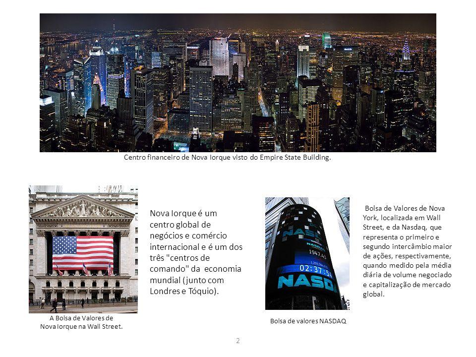 Centro financeiro de Nova Iorque visto do Empire State Building. 2 A Bolsa de Valores de Nova Iorque na Wall Street. Nova Iorque é um centro global de