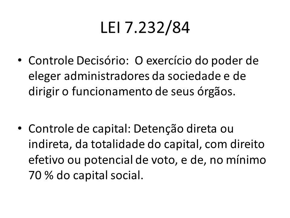 LEI 7.232/84 Controle Decisório: O exercício do poder de eleger administradores da sociedade e de dirigir o funcionamento de seus órgãos. Controle de