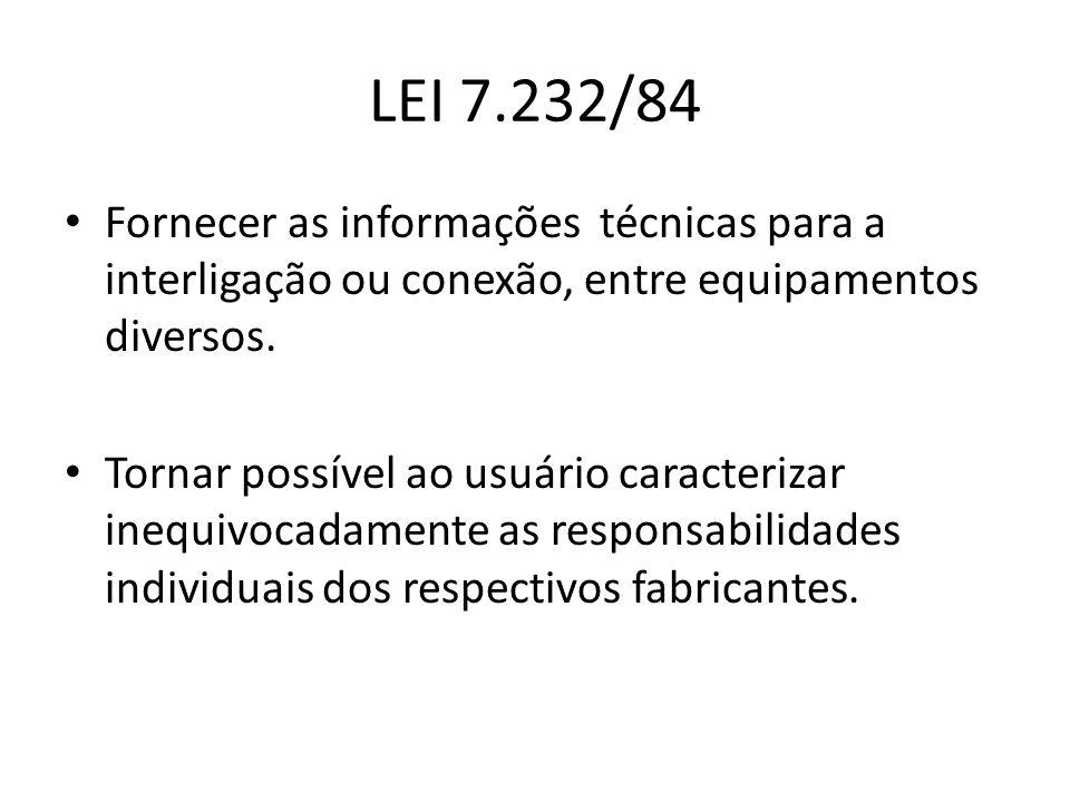 LEI 7.232/84 Fornecer as informações técnicas para a interligação ou conexão, entre equipamentos diversos. Tornar possível ao usuário caracterizar ine