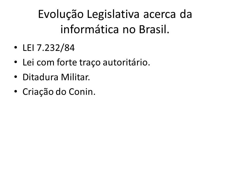 Evolução Legislativa acerca da informática no Brasil. LEI 7.232/84 Lei com forte traço autoritário. Ditadura Militar. Criação do Conin.