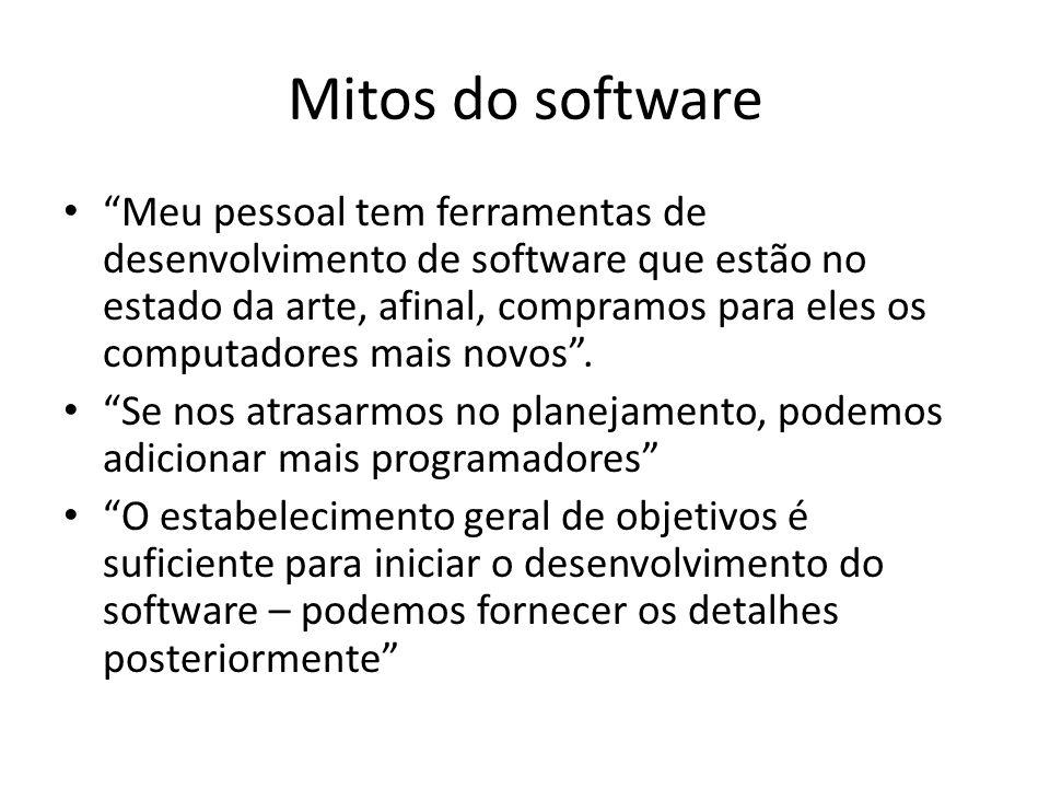 Mitos do software Meu pessoal tem ferramentas de desenvolvimento de software que estão no estado da arte, afinal, compramos para eles os computadores mais novos.